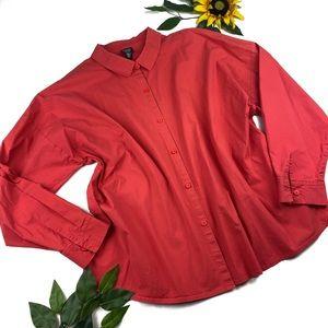 Eileen Fisher Crew Neck Button Down Shirt Cotton
